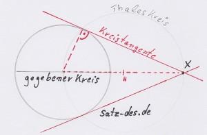 Tagentenkonstruktion mit Satz des Thales