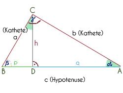 Das rechtwinklige Dreieck mit allen Bezeichnungen
