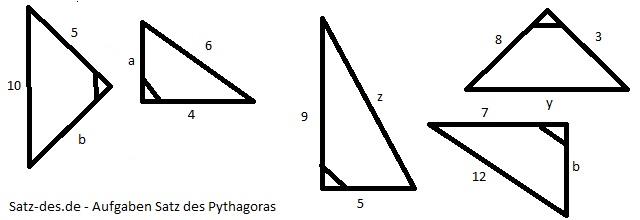 Rechenaufgaben Satz des Pythagoras