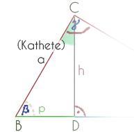 Neues Dreieck durch die Teilung mit Höhe h